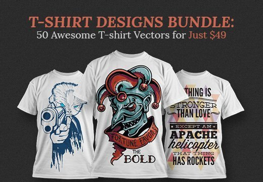 719bb6249 T-shirt Designs Bundle: 50 Awesome T-shirt Vectors for Just $49 ...