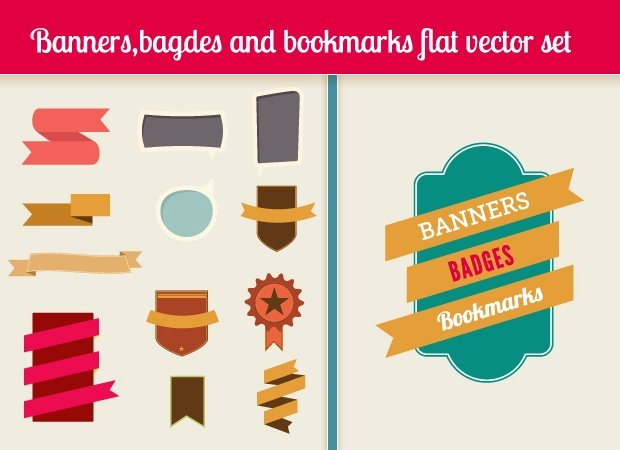 banners-bookmarks-badges-flat-vector-elements-small