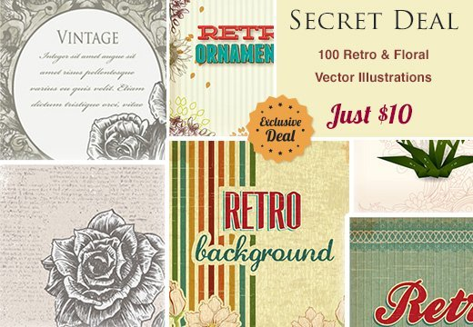 Secret Deal: 100 Retro & Floral Vector Illustrations – Just $10