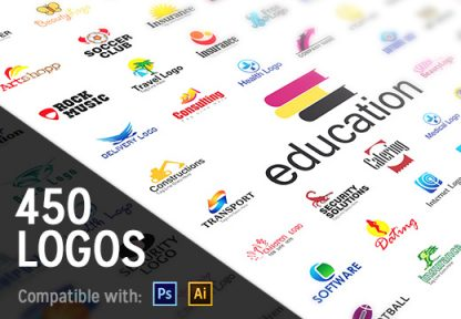 450+ Professional Logo Templates in Ai and PSD Format - InkyDeals