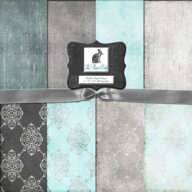 Teal & Gray Damask and Solid Background Preview