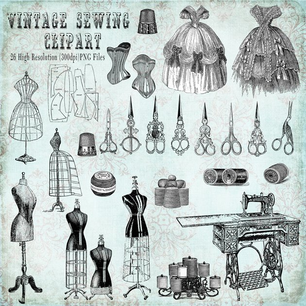 Vintage Sewing Clipart Preview