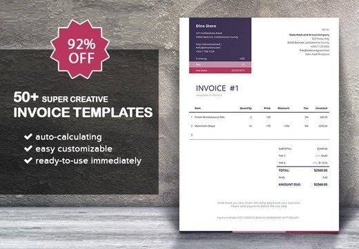 50 super creative invoice templates only 14 inkydeals 50 super creative invoice thecheapjerseys Image collections