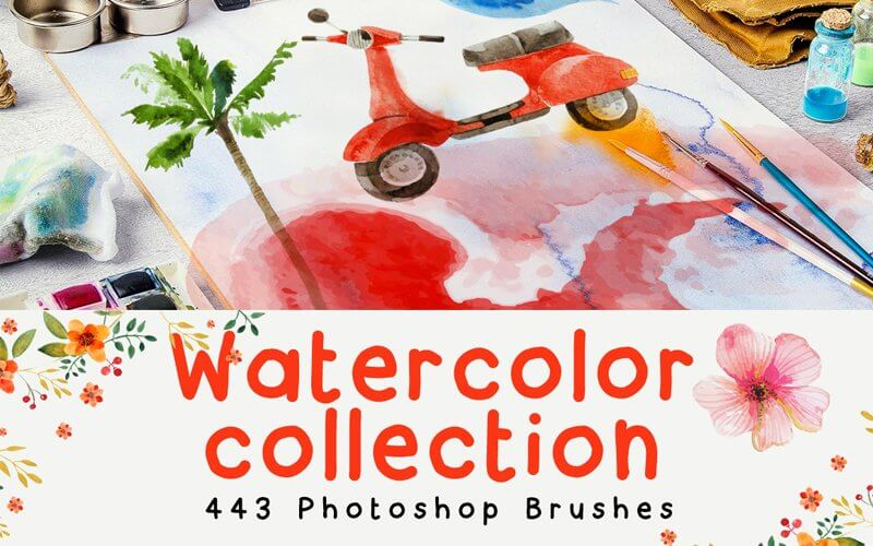 443 Watercolor Brushes For Photoshop