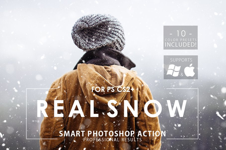 Real snow photoshop actions